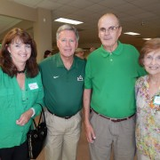 Spring Heflin Nunnelee '89 (left), President William N. LaForge, Dave Heflin '62, and Brenda Heflin gathered at the annual Desoto County Alumni Event Aug. 9.