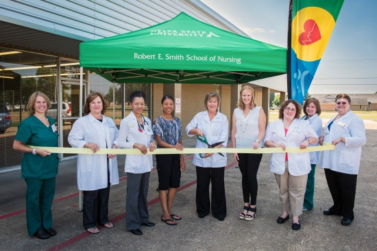 The Cleveland-Bolivar County Chamber of Commerce celebrated a ribbon cutting today as Delta State University and the Robert E. Smith School of Nursing opened doors to the Healthy Lifestyle Center.