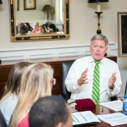 President William N. LaForge taught the first session of his leadership course Tuesday in the Presidential Conference Room.