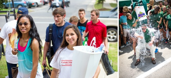 Delta State's campus was full of life Sunday as students returned to residence halls at the annual Move-in Day. President William N. LaForge also took part in the ALS Ice Bucket Challenge.