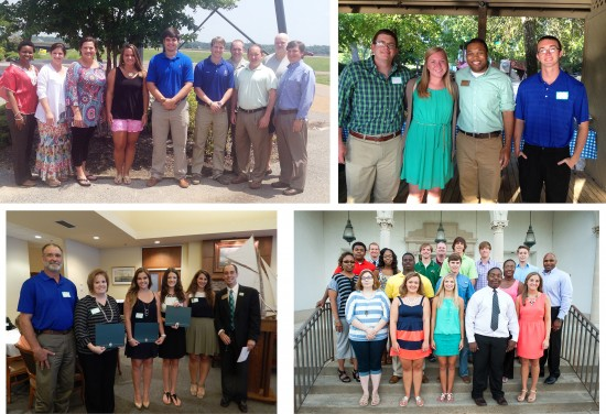 Desoto County Alumni Chapter scholarship recipients (top left), Gulf Coast Alumni Chapter scholarship recipients (top right), Greater Jackson Area Alumni Chapter scholarship recipients (bottom left), and Bolivar County Alumni Chapter scholarship recipients.