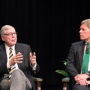 Charles Bowsher (left), former Comptroller General of the United States, spoke Thursday as part of the Delta State University Colloquia Distinguished Speakers Lecture Series.