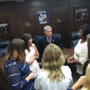 Mississippi Speaker of the House Philip Gunn met with a number of Delta State Students on Tuesday, including junior Joycelyn Davis (far right).