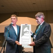 GRAMMY Museum Executive Director Bob Santelli (left) celebrates with President William N. LaForge Monday in the Delta Music Institute as Delta State University formed an official university affiliate partnership with the GRAMMY Museum.