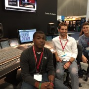 Delta Music Institute student Mic Hargrove (left), DMI audio instructor Miles Fulwider and student Ben Murray attended the 137th Audio Engineering Society Convention in Los Angeles, Calif. Oct. 9-12.