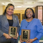 Winning the 2014 Connected Educator Awards were: Melody Fortune (left), assistant professor of health care management; and Corlis Snow, associate professor of teacher education and coordinator of elementary education.