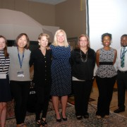 Competing in the Lightnin' Talks Competition at the International Conference on the Blues were (l to r): Katie Turner, Minji Kim, Hannah Simpson, Elizabeth Ogle, Tirzah Simmons, Cheryl Neal and Justin Barnes.