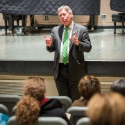 Delta State President William N. LaForge, a graduate of the inaugural class of Leadership Mississippi, spoke Thursday to this year's group of statewide leaders.