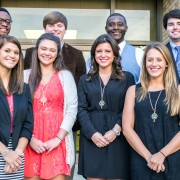 2014 Omicron Delta Kappa inductees include (front row, l to r): Kassidy Tally, Megan Heathcock, Whitney Crum and Taylor Holland. Back row, l to r: Mikel Sykes, Michael Holland, Derrick Bean and Austin Henderson.