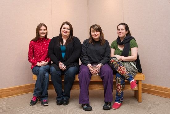 Art students Cathryn Beck (left), Ashley Jenkins, Cherie Clark and Kristin Price will be exhibiting work in the Mississippi Collegiate Art Competition in Jackson beginning Feb. 7. Missing from the picture is Chase Tubbs.