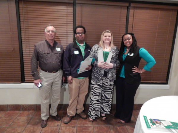 The Alumni Association was welcomed for a chapter meeting in Brookhaven. Pictured are Recruiter Robyn Rouse with Alumn Steve Jones '72 and prospective students from Brookhaven High School.