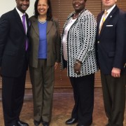 Abe Hudson (l to r), DEBTS program director; Lisa Mensah, UDSA Rural Development undersecretary; Trina George, state of Mississippi director for USDA; and Chris Masingill, federal co-chair at Delta Regional Authority, recently met to discuss USDA funding in Mississippi.