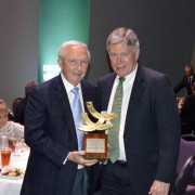 President Emeritus Dr. Kent Wyatt (left) was presented with the BPAC President's Award Thursday by Delta State President William N. LaForge.