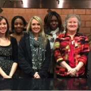 From left to right: Elizabeth Quinn, Chuck Schuepfer, Emily Davis, Kayla Patterson, Mary George Saunders, Karmen Johnson, Dr. Virginia Webb, Nina Christian and Carlee Woods.