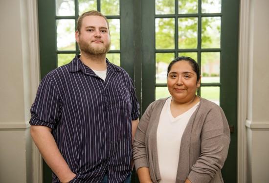 Mathematics majors John Downs and Brenda Ruth Smith are this year's initiates of Kappa Mu Epsilon.