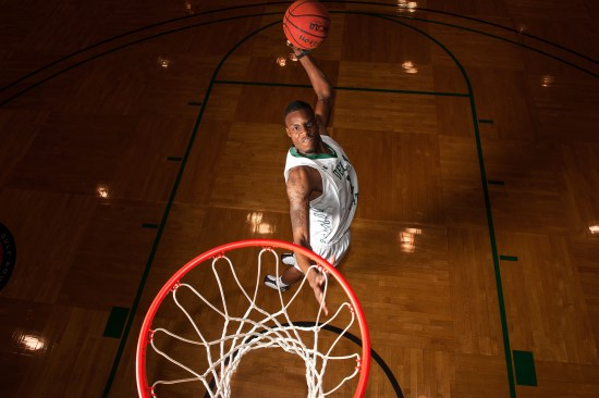 Statesman LaQuavius Cotton is still flying high after his victory in the 2015 State Farm College Dunk Championship. Photo by Rory Doyle.