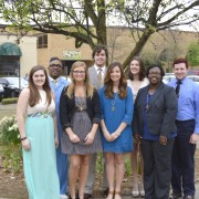 Spring 2015 Omicron Delta Kappa inductees include (front, l to r):  Claire Griffin, Kelsey Elling, Jessica Hood,  Cora Jackson, (back, l to r): Marc Leggett, Jack Tharp, Lindsey Anna Pardue and  TJ Hendrix.