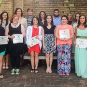 The Delta State University chapter of Phi Eta Sigma National Honor Society 2015 inductees include (front, left to right): Bhumi Desai (Greenville), Laura Fulton (Bridgeton, Mo.), Hope Rainey (Duck Hill), Nicole Cook (Olive Branch), Kristina Hong (Indianola), Kathleen Logeston (Starkville), Emily Grossi (Marks). Back Row (l to r): Haley McDonald (Merigold), Skylar Kuehn (Olive Branch), Kailey Mathis (Madison), Cody Upchurch (Grenada), Dana Rico (Pope), Tyler Daniels (Hattiesburg), Taylor Jones (Hernando), Laura Kate Fortner (Marks), Tori McDonald (Canton) and Katherine Jackson (Cleveland). Not Pictured: Caitlin Ivey (Madison), Katye Mangialardi (Olive Branch) and Callie Masterson (Batesville).
