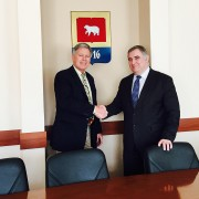 President William N. LaForge, left, recently met with Rector Igor Makarikhin, IEO of Perm State University in Russia, to discuss partnerships between the two universities.