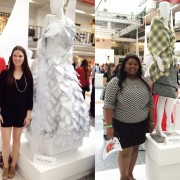 Fashion merchandising students Ashton Roach, left, and DeAudriana Jones recently competed in the Apparel Design Exhibit at the Dallas Scholarship Competition sponsored by Fashion Group International.