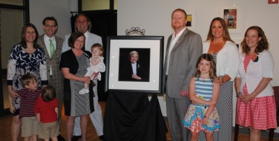 Family and friends gather in the Howorth Seminar Room to honor Dorothy Shawhan with the Woman of Achievement Award for 2015.