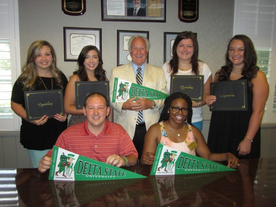 The Desoto County Alumni Chapter is planning its upcoming annual meeting. Pictured are (seated, l to r): Hank Ludwig, Desoto County Chapter past president and founding member; Angela Carter, DSU admissions recruiter; (back, l to r) Kayla Savage, 2015 scholarship recipient; Madison Ennis, 2013 scholarship recipient; Milton Kuykendall, superintendent of Desoto County Schools; Natalie Howarth, 2015 scholarship recipient; and Mollie Evans, 2013 scholarship recipient.