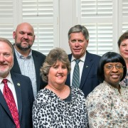University administrators and representatives from the College of Education and Human Sciences at Delta State University recently celebrated the college's continuing accreditation through 2021. Pictured: (front, l to r) Provost Dr. Charles McAdams; Dr. Cheryl Cummins, director of Field Experiences; Dr. Corlis Snow, coordinator of Advanced Studies in Elementary Education; (back, l to r) Tom Brady, interim chair of the Division of Teacher Education, Leadership and Research; President William N. LaForge; and Dr. Leslie Griffin, dean of the COEHS.
