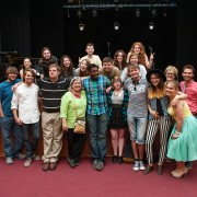 "Students from the Delta Music Institute celebrate with students from Perm Statue University in Russia after a successful concert May 29 organized through the international exchange ""Rivers of Music — Rivers of Culture."""
