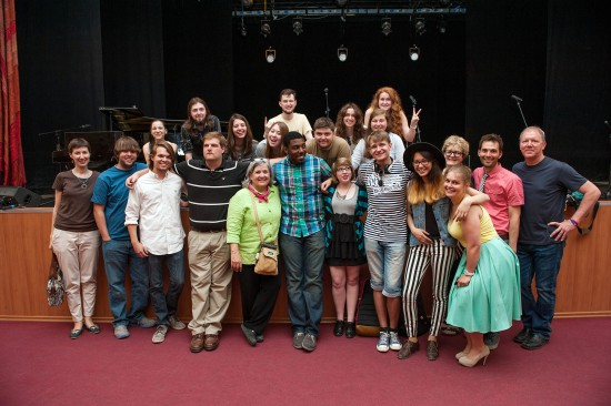 """Students from the Delta Music Institute celebrate with students from Perm Statue University in Russia after a successful concert May 29 organized through the international exchange """"Rivers of Music — Rivers of Culture."""""""