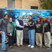 Musician Steve Azar, James Ceranti Motors and the St. Cecilia Foundation recently teamed up to donate a vehicle to the Delta Music Institute. Pictured are: (left to right): Steve Azar, Tricia Walker, James Ceranti, Vickie Jackson, Katt Grant and Travis Calvin.