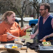 Alumna Leslie Roark Scott '95 recently competed on the Food Network, seen here with host Ted Allen, and she will reenact a portion of the show at the Gulf Coast Alumni Event Aug. 27 in D'Iberville.