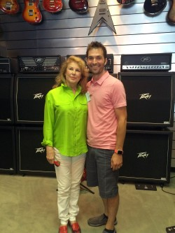 Mary Peavey of Peavey Electronics, left, joined Miles Fulwider, DMI coordinator of Sound Recording Technology, for the announcement of a major sound equipment donation.