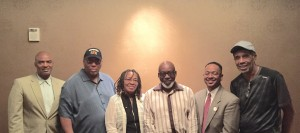 """Conference presenters included (l to r) Jonathan Mason; Allen Johnston; professor Sandra """"SANA"""" Foster; Charles Mitchell, director of the Jus Blues Foundation; Dr. Rolando Herts; and Rojene Bailey."""