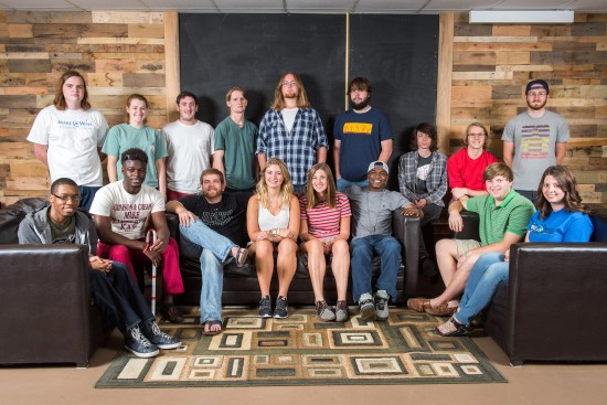 Members of the 2015-16 Fighting Okra Records: (front, left to right) Gregory Braggs, Keith Johnson, Tyler Young, Kelsey Collins, Lindsey Anna Pardue, Mic Hargrove, Chace Holland and Jessica Wishard. Back row: (l to r) Reed Smith, Brennan Barham, Austin Rausa, Will Marshall, Dalton Shipley, Justin Boatman, Jacob Lifsey, Starlin Browning and Lane Fitzgerald. Missing from the picture is Chelsea Young.
