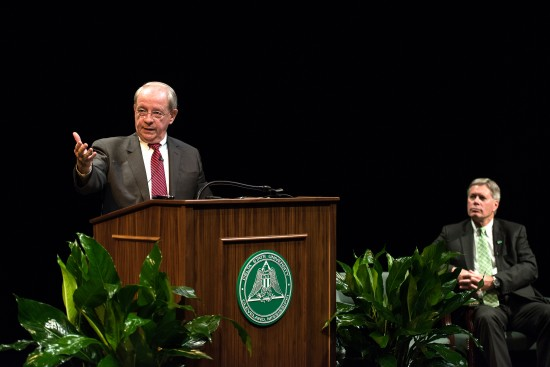 Joseph Jackson Turner Jr., spoke Tuesday as the first speaker of the semester for the Delta State University Colloquia Distinguished Speakers Lecture Series.