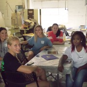 Delta State fashion merchandising students shown clockwise from front left: Kirsten Stroven, Ashton Roach, Danza Locke, Anastasia Klyarovskaya, Josholynn Hunter and Shanice Cox.