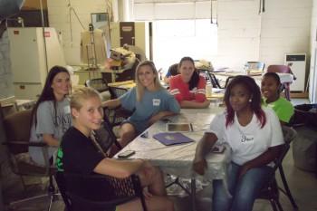 Delta State fashion merchandising students shown clockwise from front left: Kirsten Stroven, Ashton Roach, Danza Locke, Anastasia Klyarovskaya, Josholynn Hunter and Shanice Cox.