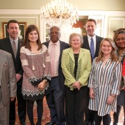 A delegation of Delta State students and faculty recently attended the Blueprint Mississippi Social Business Challenge at the state capital. Pictured (l to r): Dr. Billy Moore, dean of the College of Business; Sen. David Parker; Emily Riley Herrington, student; Sen. Willie Simmons; Dr. Virginia Webb, assistant professor of family and consumer sciences; Sen. Gray Tollison; Elizabeth Stitt, student; Melody Fortune; assistant professor of health care management; and Liz Quinn, student.