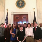 Delta Music Institute students recently visiting the White House included: (left to right)  Rhett McCormick (Bruce, MS); Anna Katherine McKay (Canton, MS); Kailey Mathis (Madison, MS); Audrianna Johnson (Grenada, MS); Katye Mangialardi (Olive Branch, MS); Brandon Evans (Greenwood, MS); Jacob Lifsey (Lexington, TN); Cody Upchurch (Grenada, MS); Joshua Stubbs (Meridian, MS); and Thomas Walker, Jr. (West Point, MS).