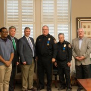 (Left to right) SGA President Mikel Sykes, President William N. LaForge, Captain Mark Kimbell, Chief Lynn Buford, Captain Donald Bradshaw and Butch Caston, interim Vice President of Student Affairs, during a recent ceremony honoring first responders to the Sept. 14 shooting on campus.
