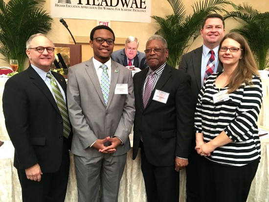 Delta State honorees at the 29th annual HEADWAE program in Jackson included student Mikel Sykes and the late Dr. Ethan Schmidt. Pictured are: (l to r) Sen. Buck Clarke, Sykes, Sen. Willie Simmons, Dr. Chuck Westmoreland and Elizabeth Schmidt.