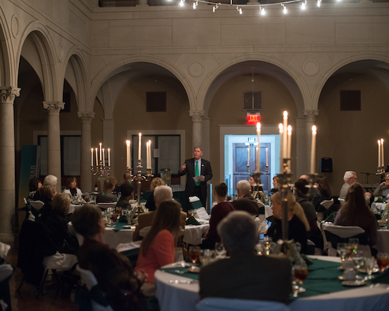 President William N. LaForge speaks to representatives of Perm State University at a dinner held in their honor during their weeklong visit to campus.