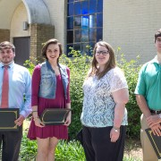 The 2016 inductees for the Phi Alpha Theta International Honor Society include (left to right): Brenton King, Katherine Jackson, Laura Kate Fortner and Matt Riggins. Missing from the photo: are Alexis Danielle Banks, Dylan Garrett, Wesley Rippee and Kaelin Kneeland.