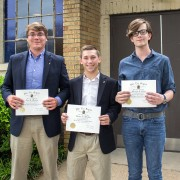 Alex Mauney (left to right), Paxton Stratton and Marshal Salley were inducted into the Phi Eta Sigma National Honor Society today.