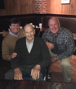 Chris Burgess '83 of Ridgeland, and Barry Lyons '84 of Ocean Springs, with former Statesmen baseball coach Boo Ferriss at The Warehouse in downtown Cleveland.