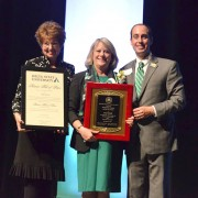 The 2015 Outstanding Alumnus of the Year Lucy Janoush (center) with Ann Giger, director of Donor Relations, and Jeffrey Farris, director of Alumni Affairs.