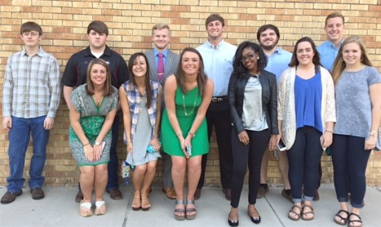 Alpha Epsilon Delta recently held its annual initiation ceremony at Delta State University. This year's initiates included: (front row, left to right) Kimberly Austin, Skylar Kuehn, Dana Rico, Lavenus Dudley, Christin Manor, Sara Barrett (back, l to r) Zachary Kinler, Kelby Flemons, Jean Blackmon, Parker Pearson, Anthony Tate and Tyler Sullivan