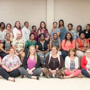 Teachers taking part in the Delta Math Science Partnership Initiative  included: (front row, left to right) Darla McDaniel, Tina McDonald, Meghan Davis, Allison Berg, Anna Melton, Sonya Burchfield, Anna Glenn, Sherri Williams, (second row, l to r) Karen Bright, Sheronda Lee, Demetras Jones, Bruce Goldstein, Aneshia McDaniel, Betty Shelly, Chandria McKnight, Shunquita Henry, Tameka Davis, Rolanda Swarptue. Mary Frances Malatesta. (third row, l to r) Mary Garcia, Camellia Jenkins, Rosemary Collins, Arika Armstrong, Elizabeth Stallworth, Karen Haun, Jacinta Brown, Annie Steele, Heidi Barbian, Yolanda McGee, Betty Roby, Annie Love, Katherine Thomas, Glenda Lollis-Hawkins, Maria Thigpen, Gregory Jackson Jr., Samuel Mettu and Patrick Evans .