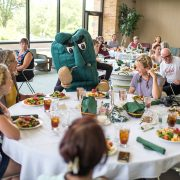 Students from La Trobe University in Australia enjoyed a luncheon Wednesday at Delta State with the Fighting Okra and President William N. LaForge.