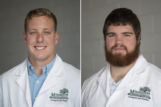 Students Tyler Sullivan (left) and Tyler Daniels were recently selected to participate in the undergraduate portion of the Mississippi Rural Physicians Scholarship Program.